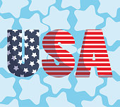 Usa text in front of stars background design, Happy independence day and 4th july theme Vector illustration