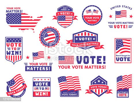 Usa voting labels. American presidential election badges and vote stickers, encouraging political voting banners. Patriotic politics emblem vector set