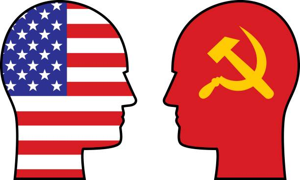 usa vs russia heads - russian flag stock illustrations, clip art, cartoons, & icons