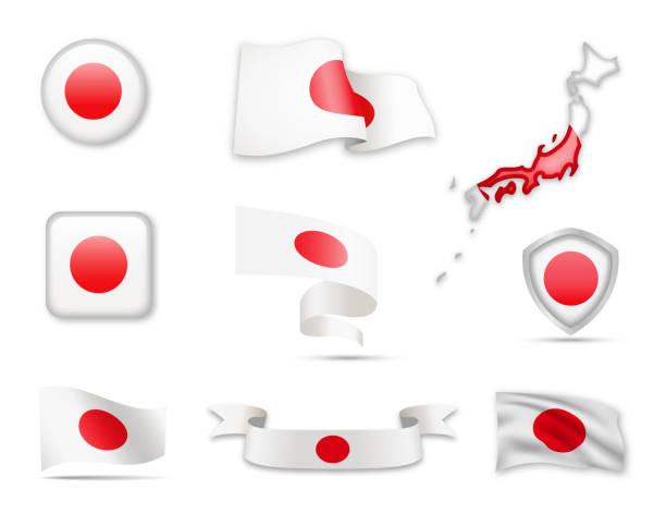 ilustraciones, imágenes clip art, dibujos animados e iconos de stock de 0001 - usa_flags_set_9 - bandera japonesa