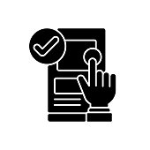 Usability black glyph icon. Online application check. UX testing. Software engineering. User experience, satisfaction examination. Silhouette symbol on white space. Vector isolated illustration