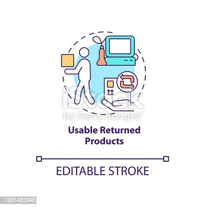 istock Usable returned products in medical industry concept icon. 1331432040