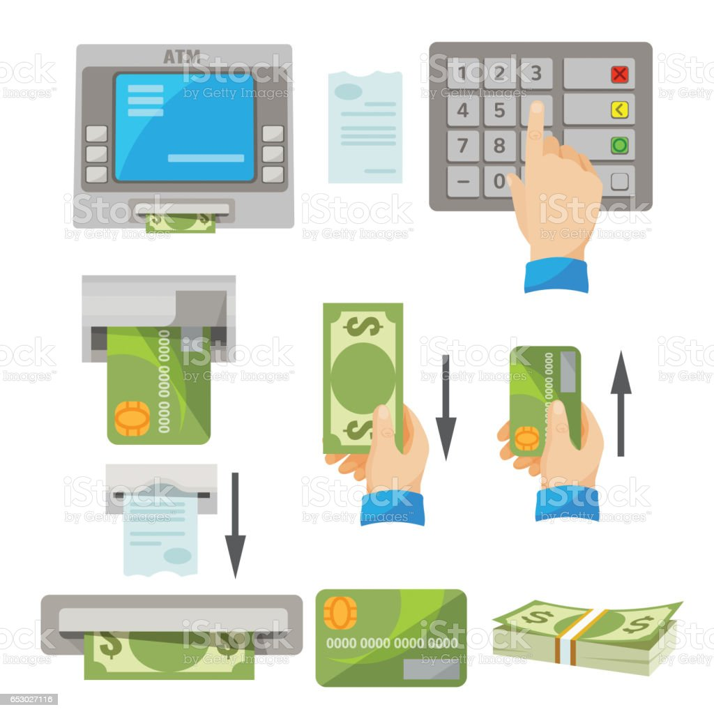 ATM usage concept set with money and credit card vector art illustration