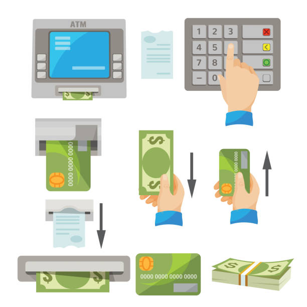ATM usage concept set with money and credit card ATM usage concept vector set. Human hand pushing buttons, indications of inserting of credit card and getting money by hand, pack of dollars, white check, banking machine giving money and check inserting stock illustrations