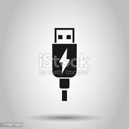 istock Usb cable icon in flat style. Electric charger vector illustration on isolated background. Battery adapter business concept. 1173271024