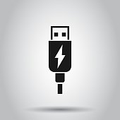 Usb cable icon in flat style. Electric charger vector illustration on isolated background. Battery adapter business concept.