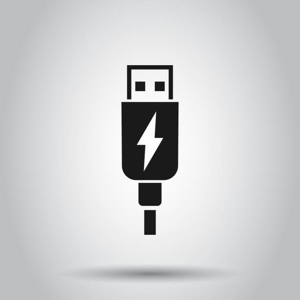 Usb cable icon in flat style. Electric charger vector illustration on isolated background. Battery adapter business concept. Usb cable icon in flat style. Electric charger vector illustration on isolated background. Battery adapter business concept. usb stick stock illustrations