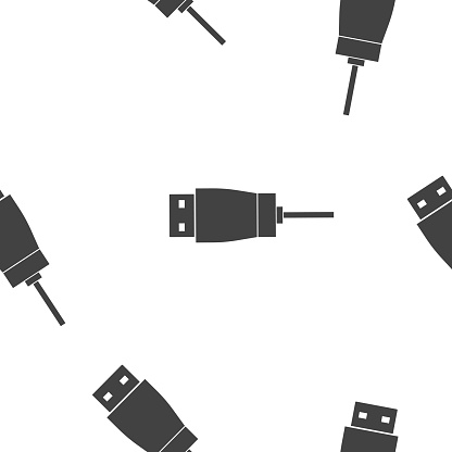 Usb cable icon seamless pattern on a white background.