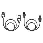 istock Usb cable line and solid icon, smartphone equipment concept, wire for data transmission sign on white background, usb cable for charging smartphone icon in outline style. Vector graphics. 1284092843