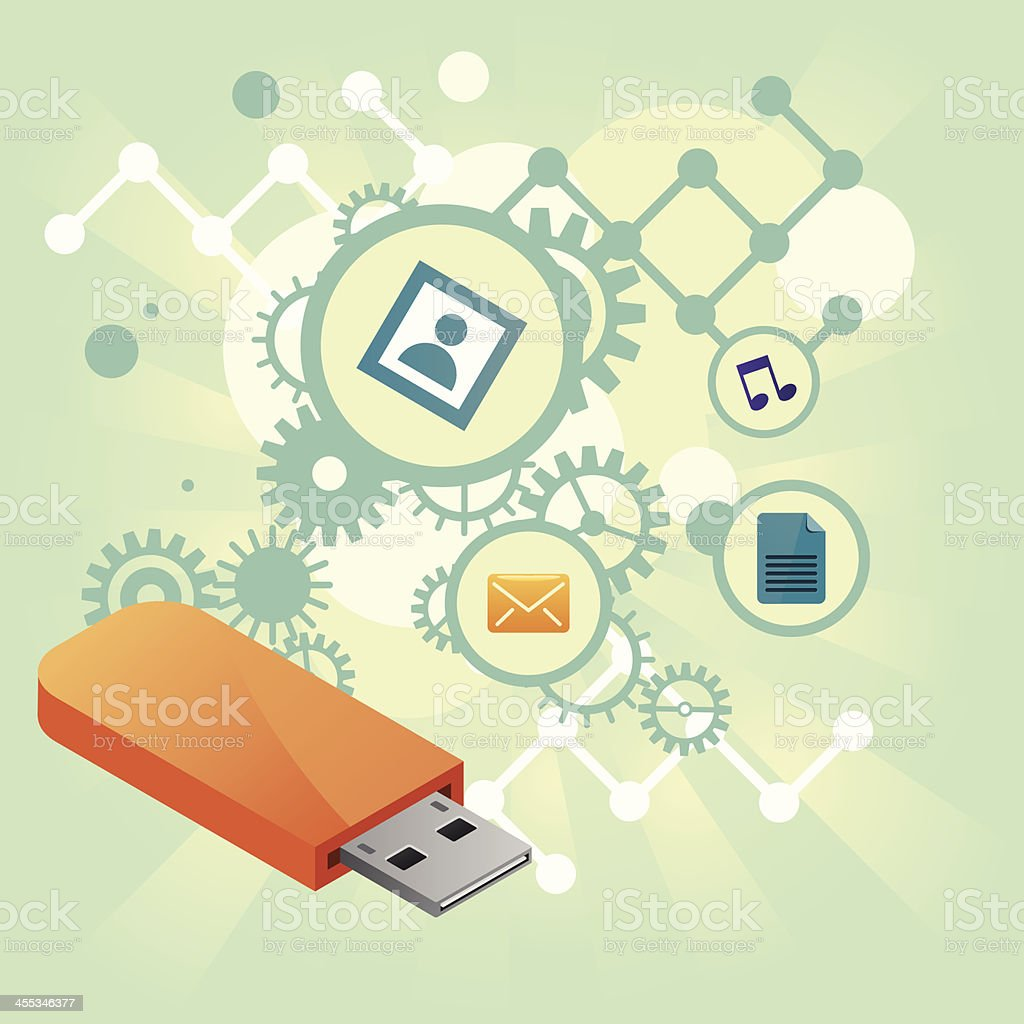 usb files with gears and bubbles royalty-free stock vector art