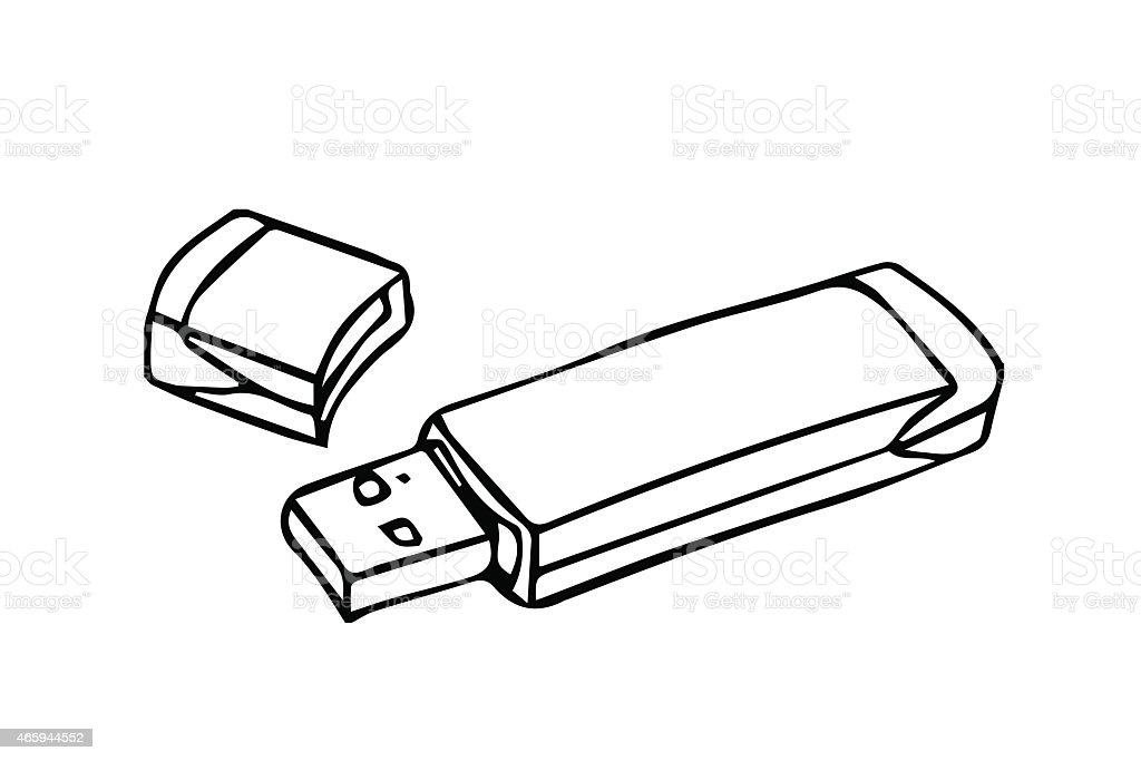 Usb flash drive outline stroke stock vector art more - Cle a colorier ...