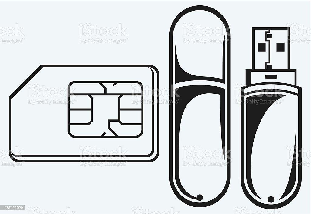 Ilustración de Memoria Flash Usb De Teléfono Móvil Y Sim y más banco ...