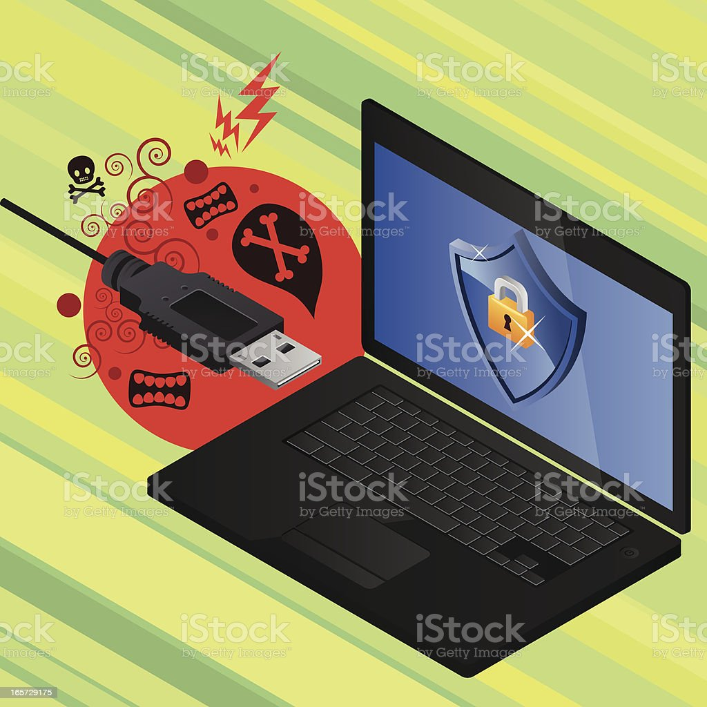 Usb infected and protected pc royalty-free usb infected and protected pc stock vector art & more images of aerial view