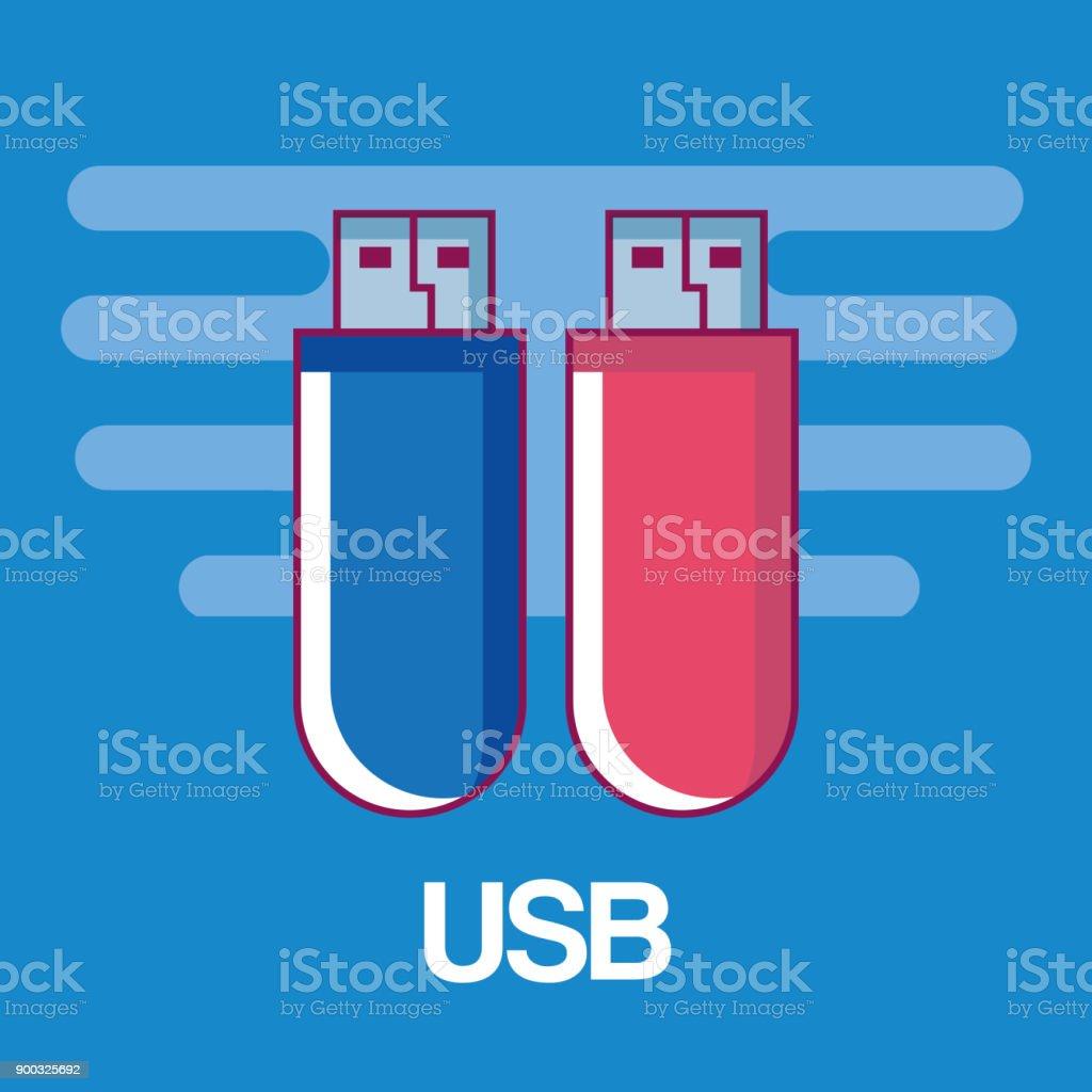 USB-Speicher-Retro-Technologie-Symbol – Vektorgrafik