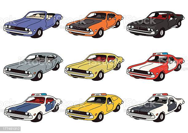 Drawing of classic american cars