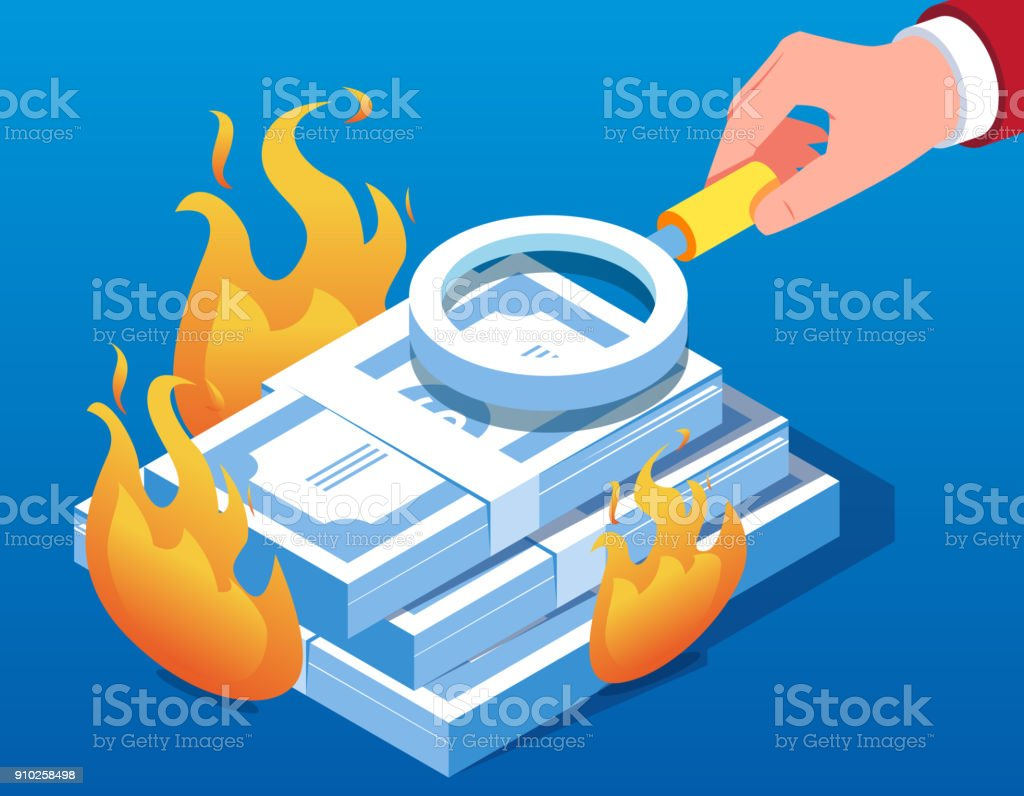 Use a magnifying glass to check the currency for the cause of the fire vector art illustration