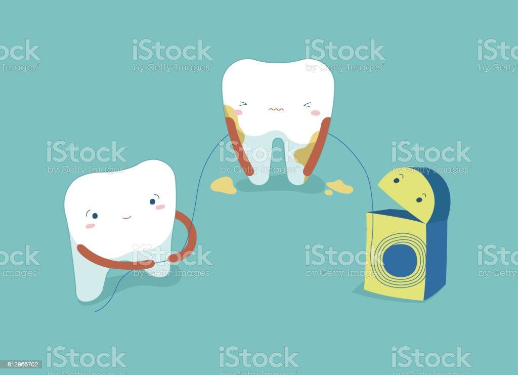 b96093540 Vetor de Usar Fio Dental Branco Dentes Saudáveis Dentes E Conceito ...