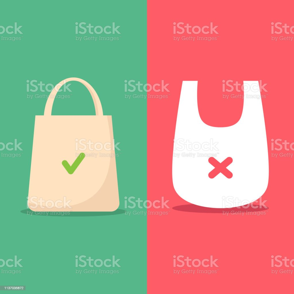 Use Environmentally Friendly Bag And Stop Using Plastic Bag Vector