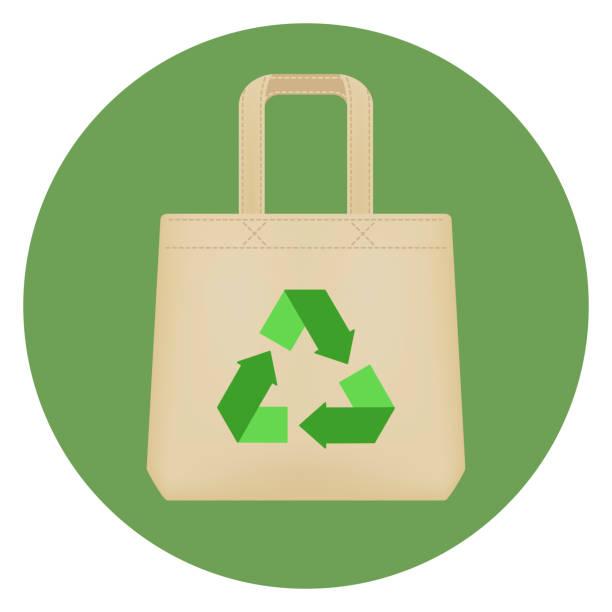 verwenden sie umweltfreundliche baumwolltasche. - stoffmarkt stock-grafiken, -clipart, -cartoons und -symbole
