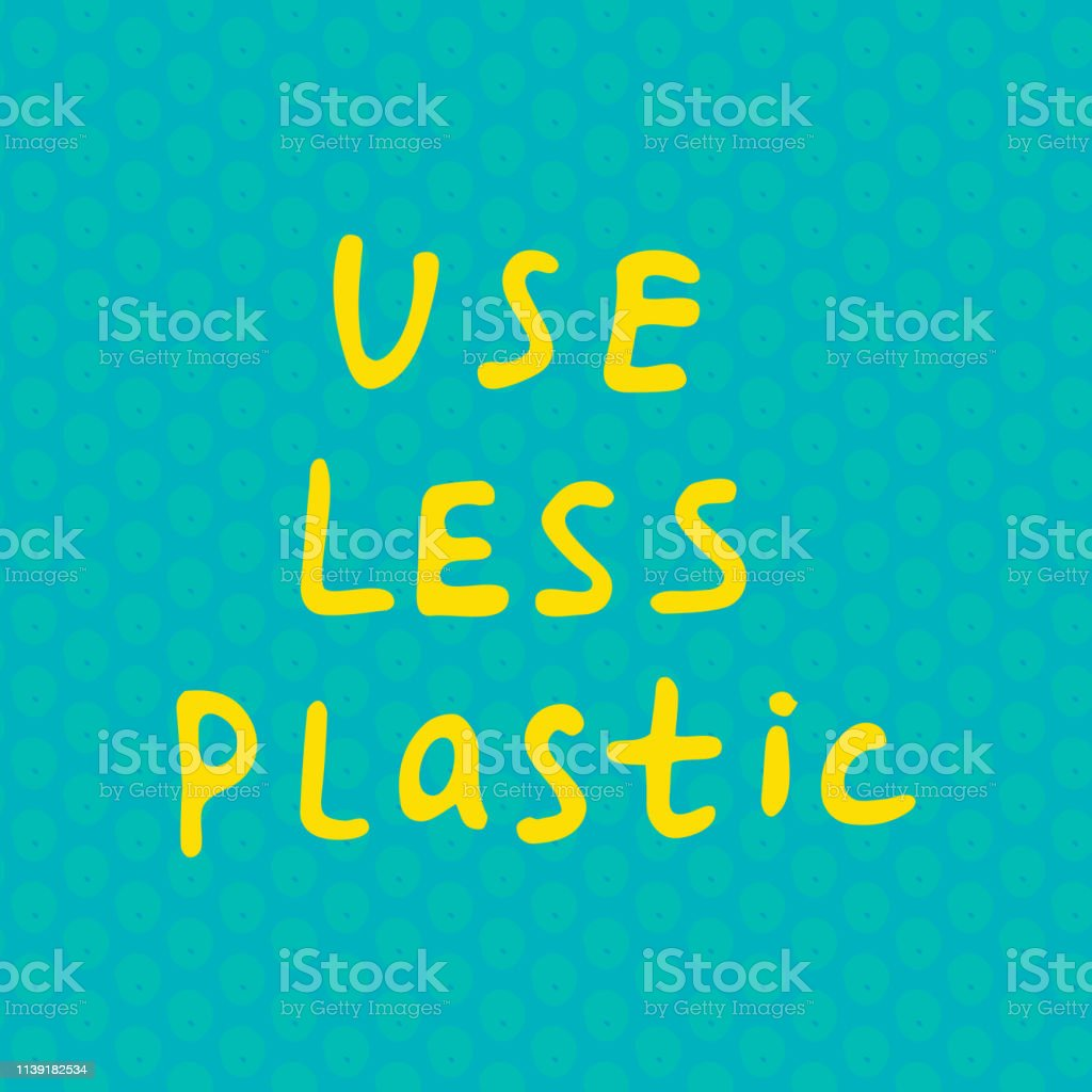 Use Less Plastic Waste Handwritten Text Title Waste