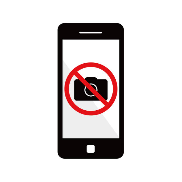 스마트폰 카메라의 사용은 금지 되어 있습니다. - 사진 촬영 이미지 캡처 stock illustrations