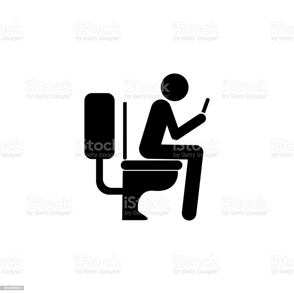 Use The Phone In The Toilet Icon Bad Habit Elements For Mobile ...