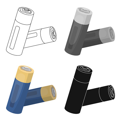 Used batteries icon in cartoon style isolated on white background. Trash and garbage symbol stock vector illustration web