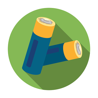 Used batteries icon in flat style isolated on white background. Trash and garbage symbol stock vector illustration.