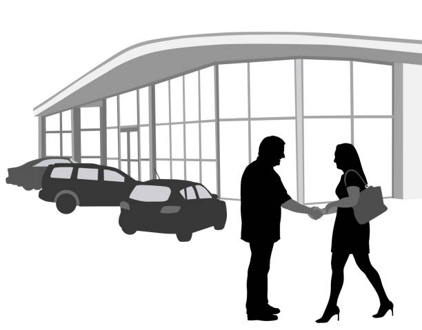 Used Car Deal Woman in silhouette shakes the hand of a salesman who sold her the car she liked car salesperson stock illustrations