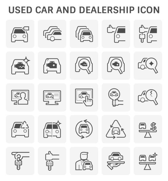 used car icon Used car and dealership icon set for used car business design. car salesperson stock illustrations
