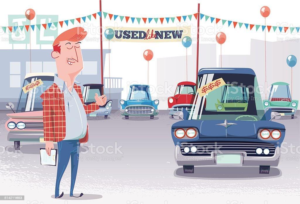 Auto Parkplatz verwendet Verkäufer – Vektorgrafik