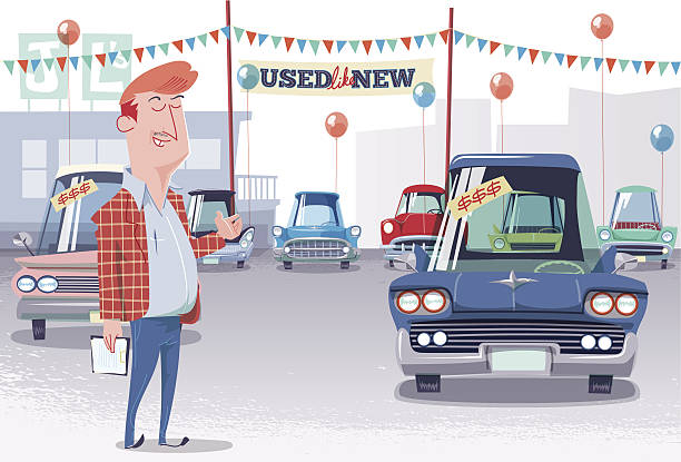 Used Car Lot Salesman Joe Lemon's famously used like new selection of vintage 60's cars, easy financing available. car salesperson stock illustrations