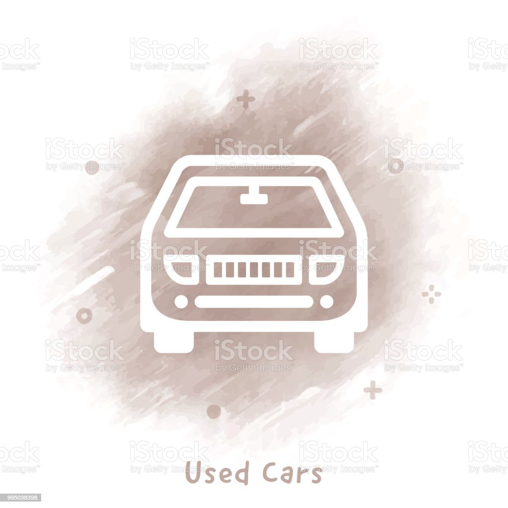 Used Cars Line Icon Watercolor Background Stock Vector Art More