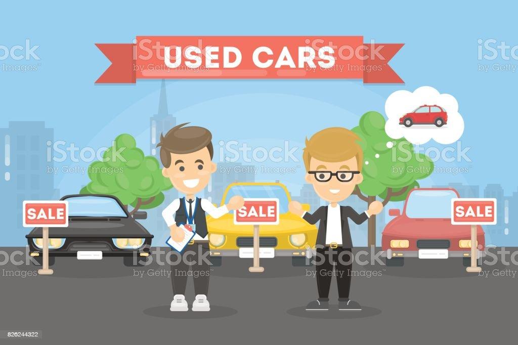 Gebrauchtwagen-Geschäft. – Vektorgrafik
