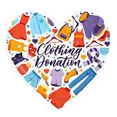 istock Used clothing donation, banner poster calligraphy lettering. Social humanitarian aid and charity, vector design elements 1225371837