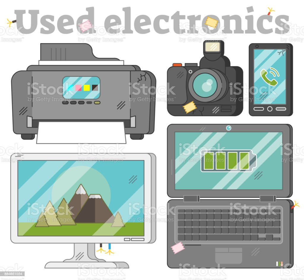 Used electronics set vector art illustration
