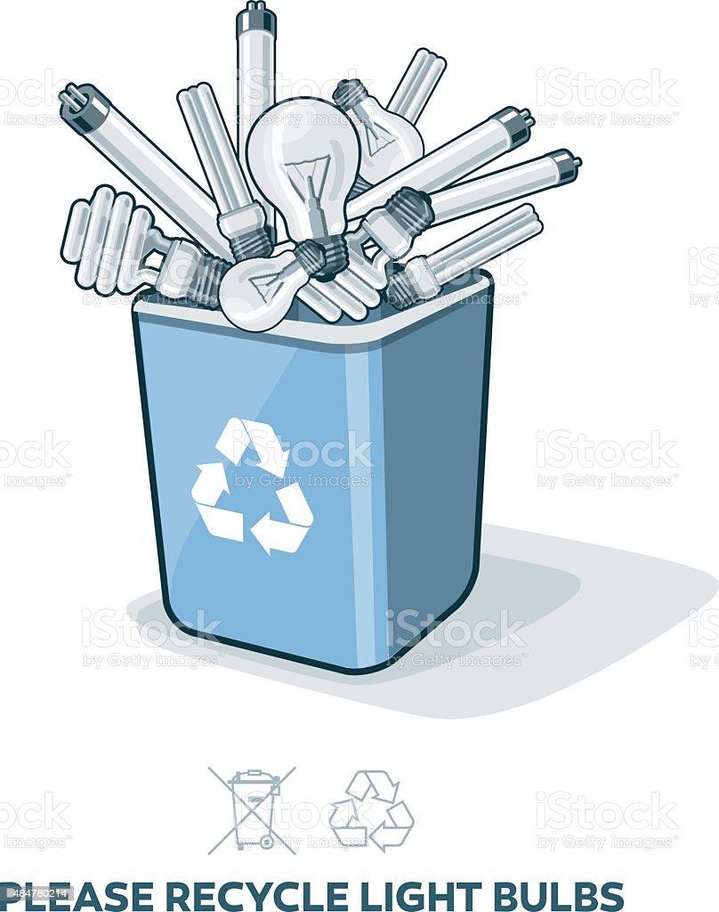 Used Light Bulbs in Recycling Bin vector art illustration