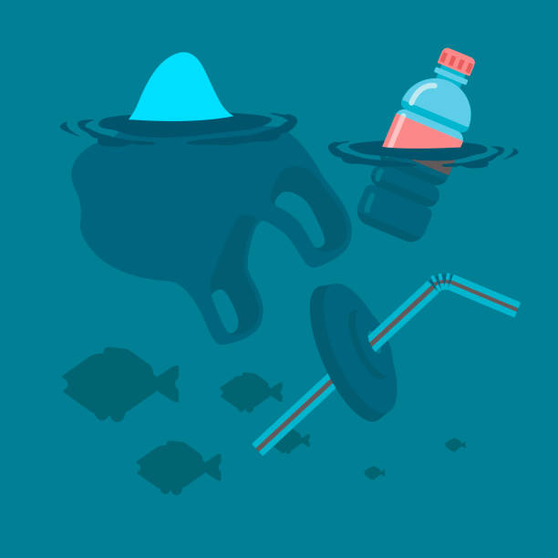Used plastic bag, bottle and soft drink container straw floating on a calm ocean polluting the aquatic environment. Vector flat illustration. Used plastic bag, bottle and soft drink container straw floating on a calm ocean with fish polluting the aquatic environment. Vector flat illustration. floating on water stock illustrations