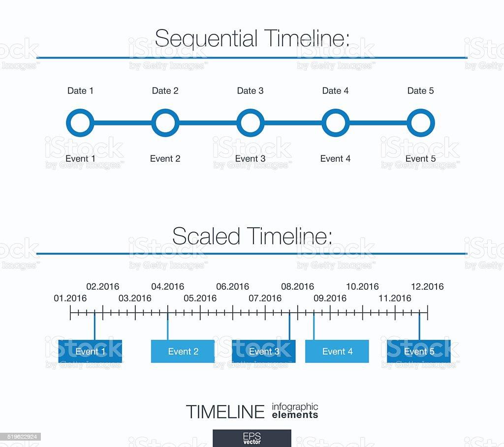 Útil infográfico modelo. sequenciais e dimensionadas cronograma - ilustração de arte em vetor