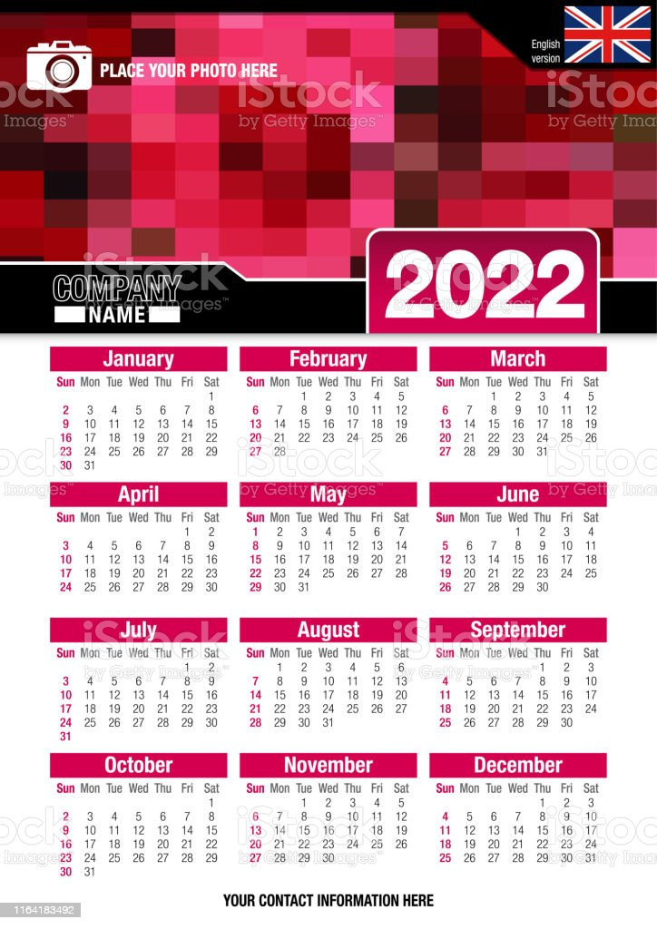 Wall Calendar 2022.Useful Wall Calendar 2022 With Design Of Red Colors Mosaic English Version Stock Illustration Download Image Now Istock