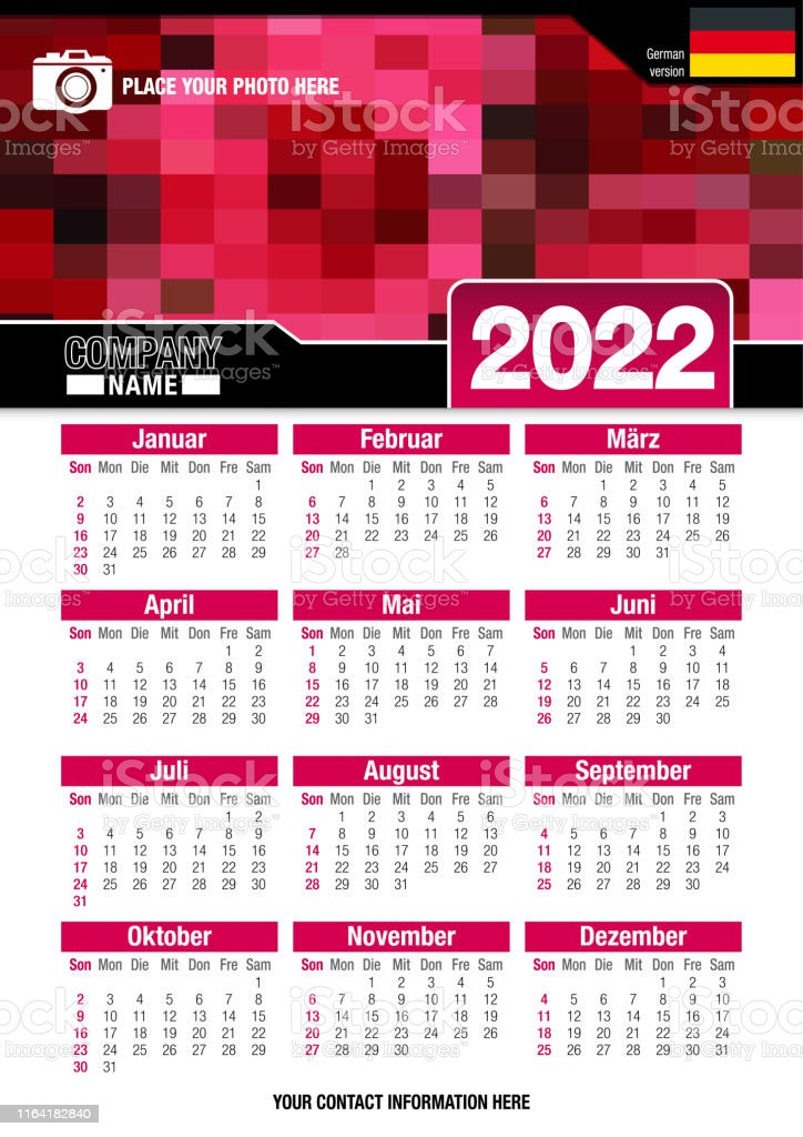 Mit Calendar 2022.Useful Wall Calendar 2022 With Design Of Red Colors Mosaic German Version Stock Illustration Download Image Now Istock