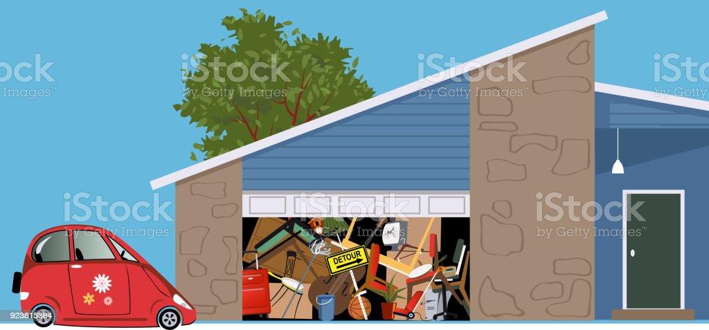 Useless garage vector art illustration