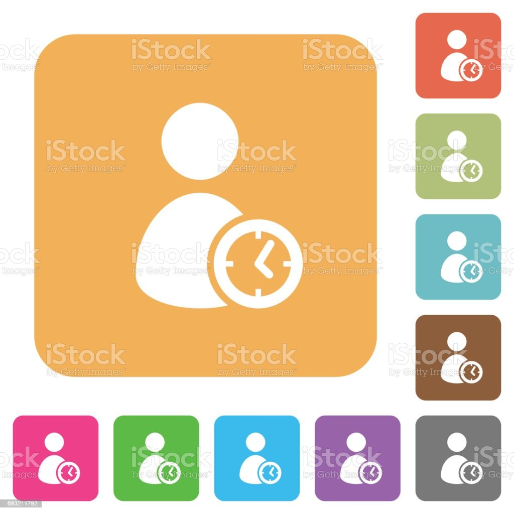 User account time rounded square flat icons Lizenzfreies user account time rounded square flat icons stock vektor art und mehr bilder von auftragen