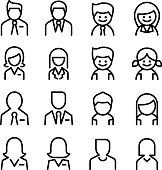 User , Avatar, man , woman Icon set in thin line style