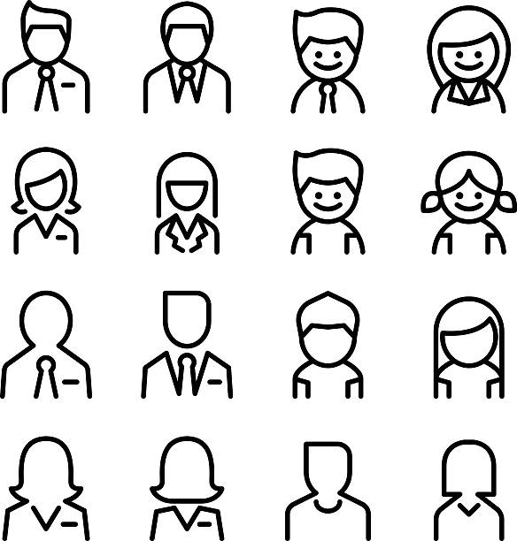 user , avatar, man , woman icon set in thin line style - old man hair stock illustrations, clip art, cartoons, & icons