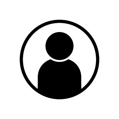 User avatar profile icon black vector illustration website or app member UI button