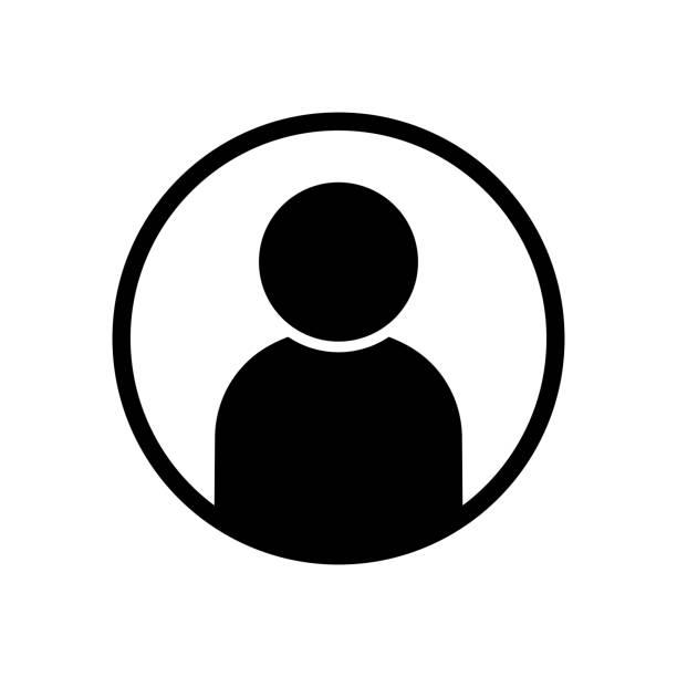 사용자 아바타 프로필 아이콘 블랙 벡터 일러스트 - 사람들 stock illustrations