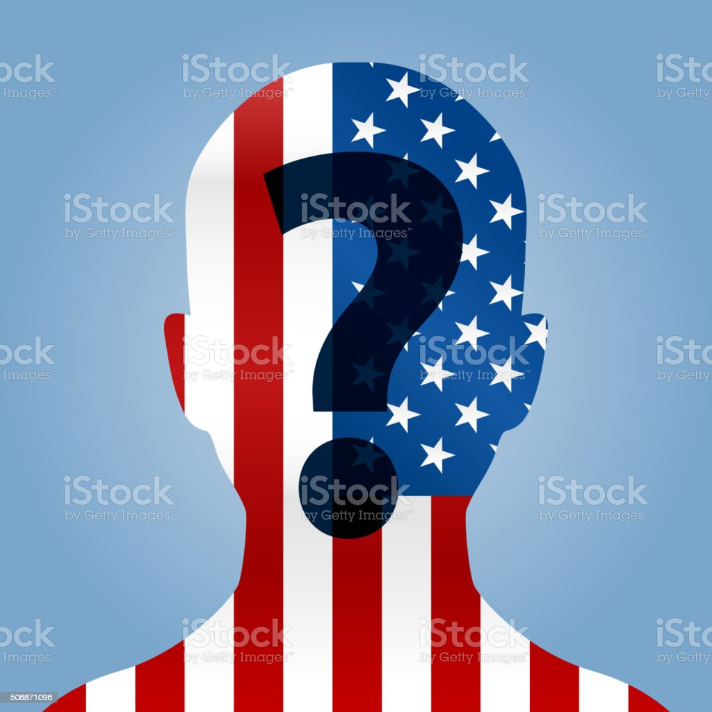 User bust with american flag election candidate vector art illustration