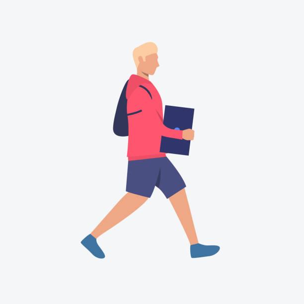 illustrazioni stock, clip art, cartoni animati e icone di tendenza di user carrying laptop flat icon - portare