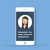User contacts or profile card details on smartphone. Personal info data on mobile phone. Identity person photo and text clipart. Flat vector illustration isolated on blue background.